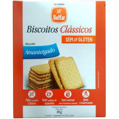 Biscoitos Clássicos Sem Glúten Amanteigado 86G - Belfar
