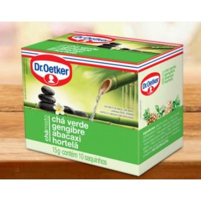Chá Misto Verde, Gengibre, Abacaxi e Hortelã CX. 10 sachês - Dr.Oetker