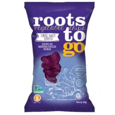 Chips de Batatas-Doces Roxas 45G - Roots To Go