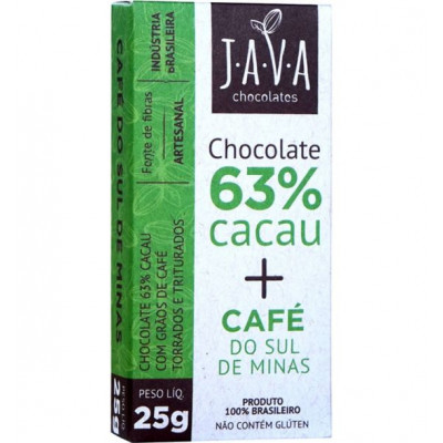 Chocolate 63% Cacau + Café do Sul de Minas - Java Chocolates