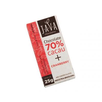 Chocolate 70% Cacau c/ Cranberry -  Java Chocolates